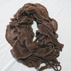 Brown Ruffle Knit Tasseled Scarf Fall color 🍂🍁